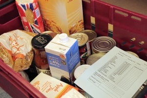 A typical foodbox for a couple with no children.